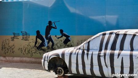 """Така пък действат графити """"артистите""""/вандали в Африка – с допълнителната екстра, че ти открадват и гумите."""