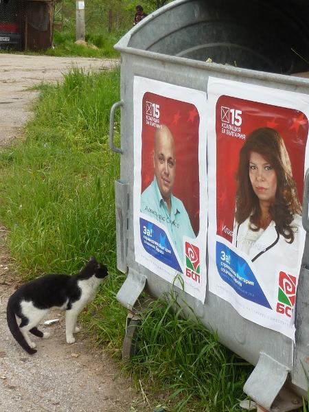 Как ли се чувства кандидатът за евродепутат, ако разбере, че с ликът му са окичени боклукчийски кофи и то от негови съпартийци...