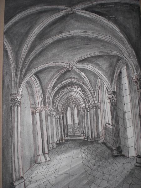 Картина на Борислав Попов от Регенсбург на криптата, където е бил затворен Св. Методий.