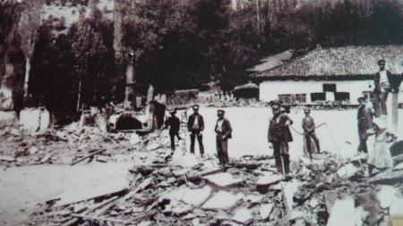 Арховна снимка на Босилеград след погрома на 15 май 1917 г. над българите.
